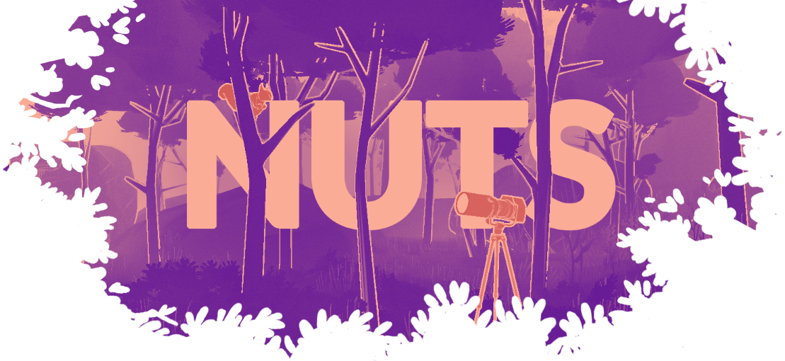 """A purple orange tinted forest with a squirrel hanging inside of a tree and a camera setup on a tripod facing the quirrel. The title says """"NUTS""""."""